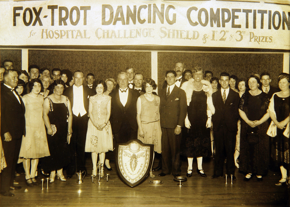 Photograph showing Fox-Trot Dancing Competition for the Hospital Challenge Shield, Royal Gwent Hospital, c.1920s. Gwent Archives